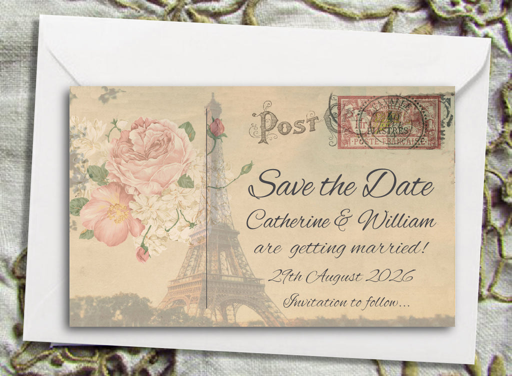 056 Paris Postcard Save the Date Magnet