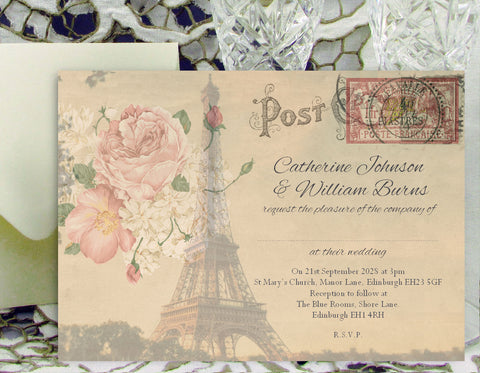 056 Paris Postcard Wedding Invitations