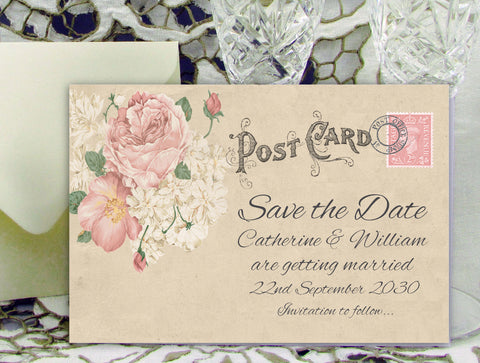 014 Vintage Postcard Save the Date Card