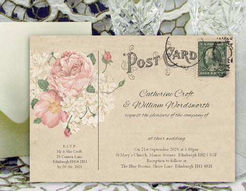 001 Bouquet Postcard Wedding Invitations