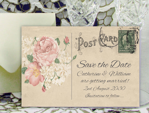 001 Bouquet Postcard Save the Date Card