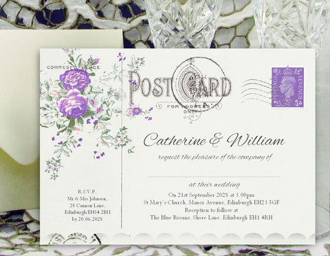 043 Lavender Postcard Wedding Invitations