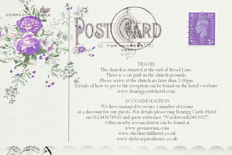 043 Lavender Postcard Information Cards