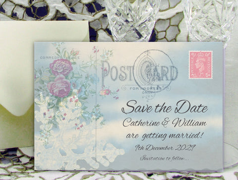 060 Postcard Snowflake Save the Date Card