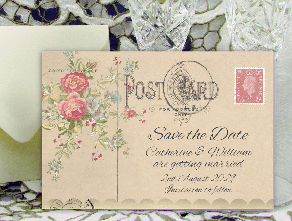067 Rose Bouquet Save the Date Card
