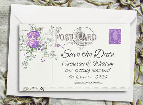 043 Lavender Postcard Save the Date Magnet