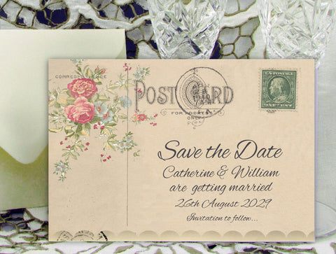 069 Flower Postcard Save the Date Card