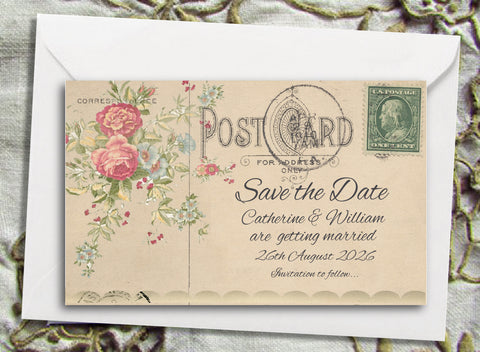 069 Flower Postcard Save the Date Magnet