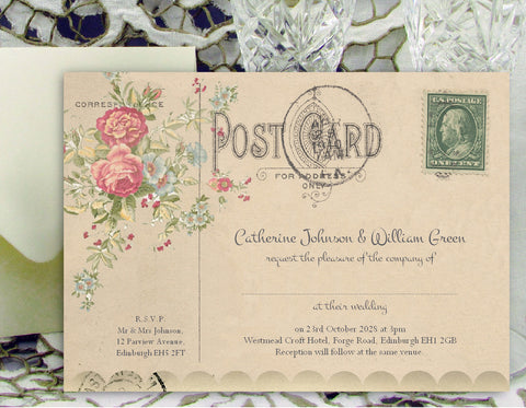 069 Flower Postcard Wedding Invitations