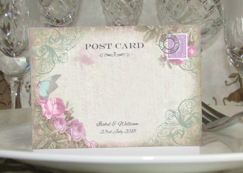 062 Butterfly Pink Flowers Place Cards