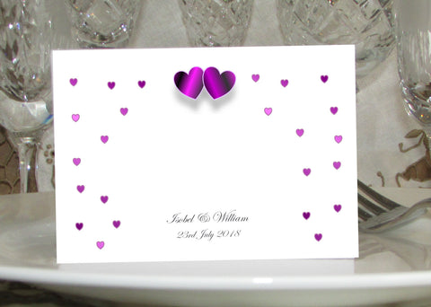 061 Purple Hearts Place Cards