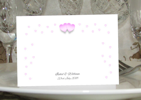 055 Pink Hearts Place Cards