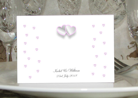 018 Grey & Pink Hearts Place Cards