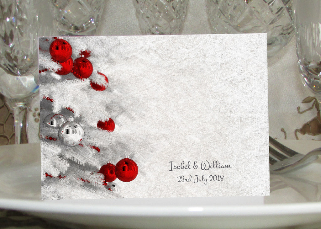 063 Red Baubles Place Cards