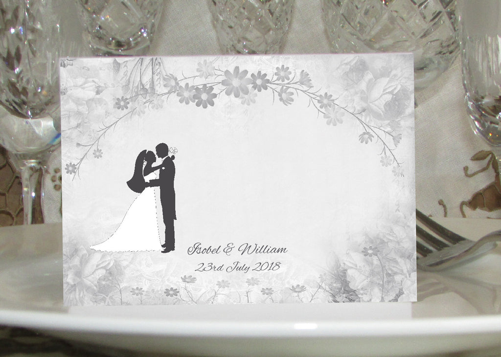 002 Flower Silhouette Place Cards