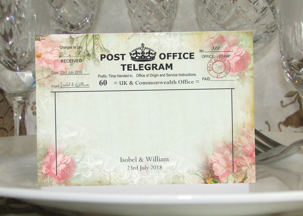 057 Pink Telegram Place Cards