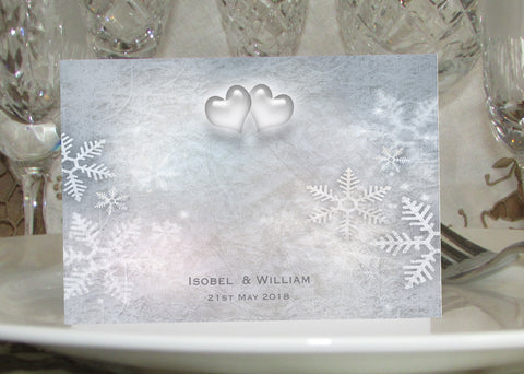 012 Snowflake Hearts Place Cards