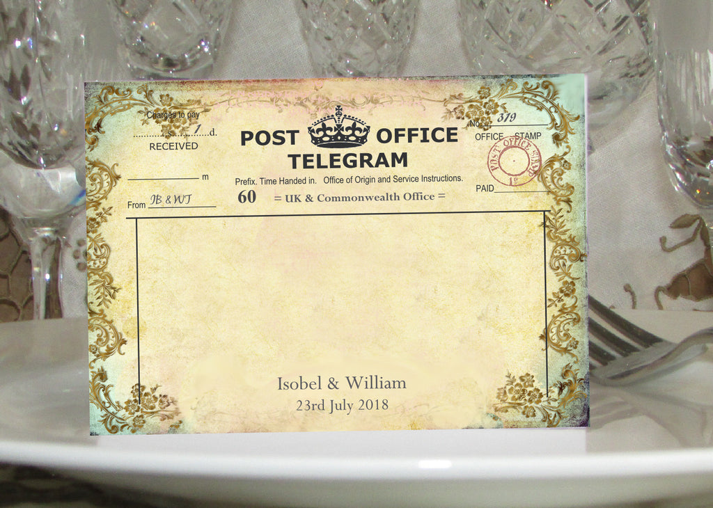 011 Filigree Telegram Place Cards