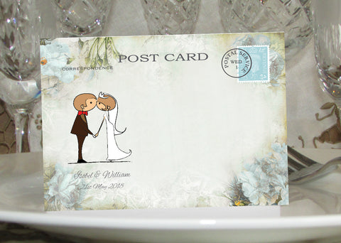 046 Kiss Couple Flowers Place Cards