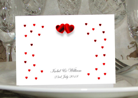 064 Red Hearts Place Cards