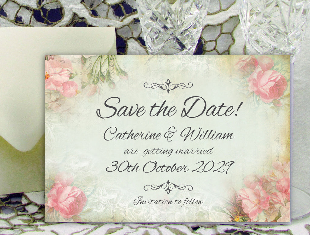 053 Pink Corners Save the Date Card