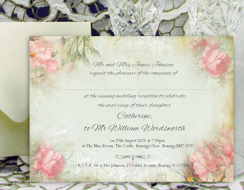 053 Pink Corners Wedding Invitations