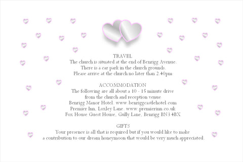 018 Grey &  Pink Hearts Information Cards