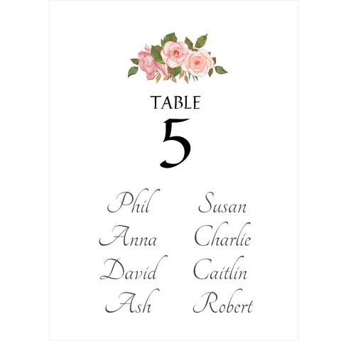 070 Blush Rose Seating Plan Cards