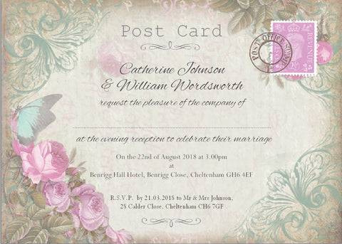 005 Blue Butterfly Pink Flower Wedding Invitations