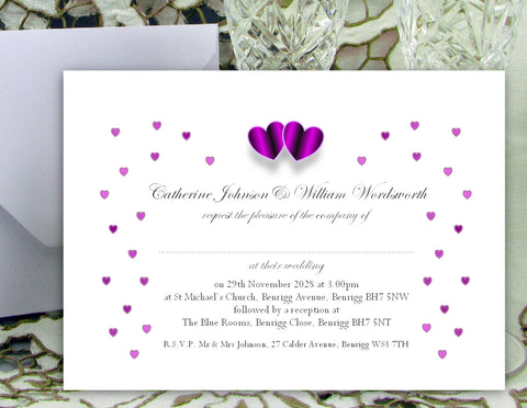 061 Purple Hearts Wedding Invitations