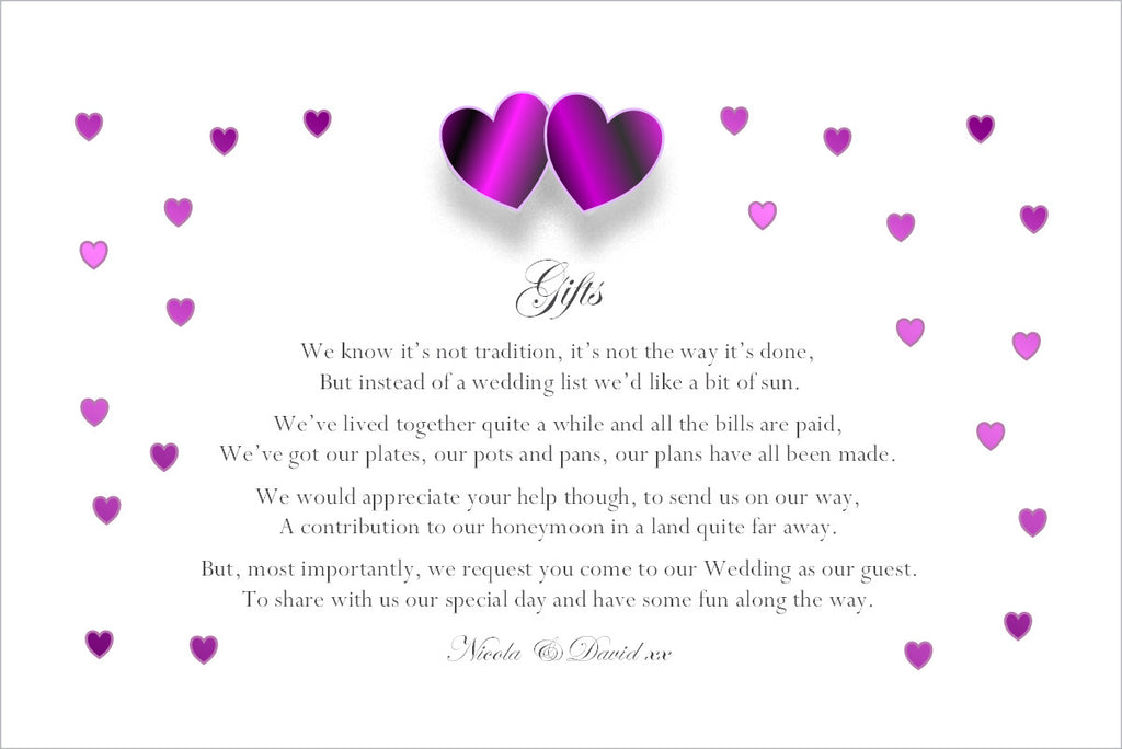 061 Purple Hearts Poem Cards