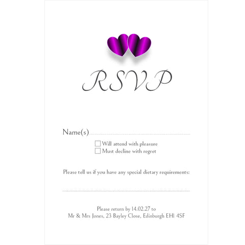 096 Purple Hearts  R.S.V.P. Cards