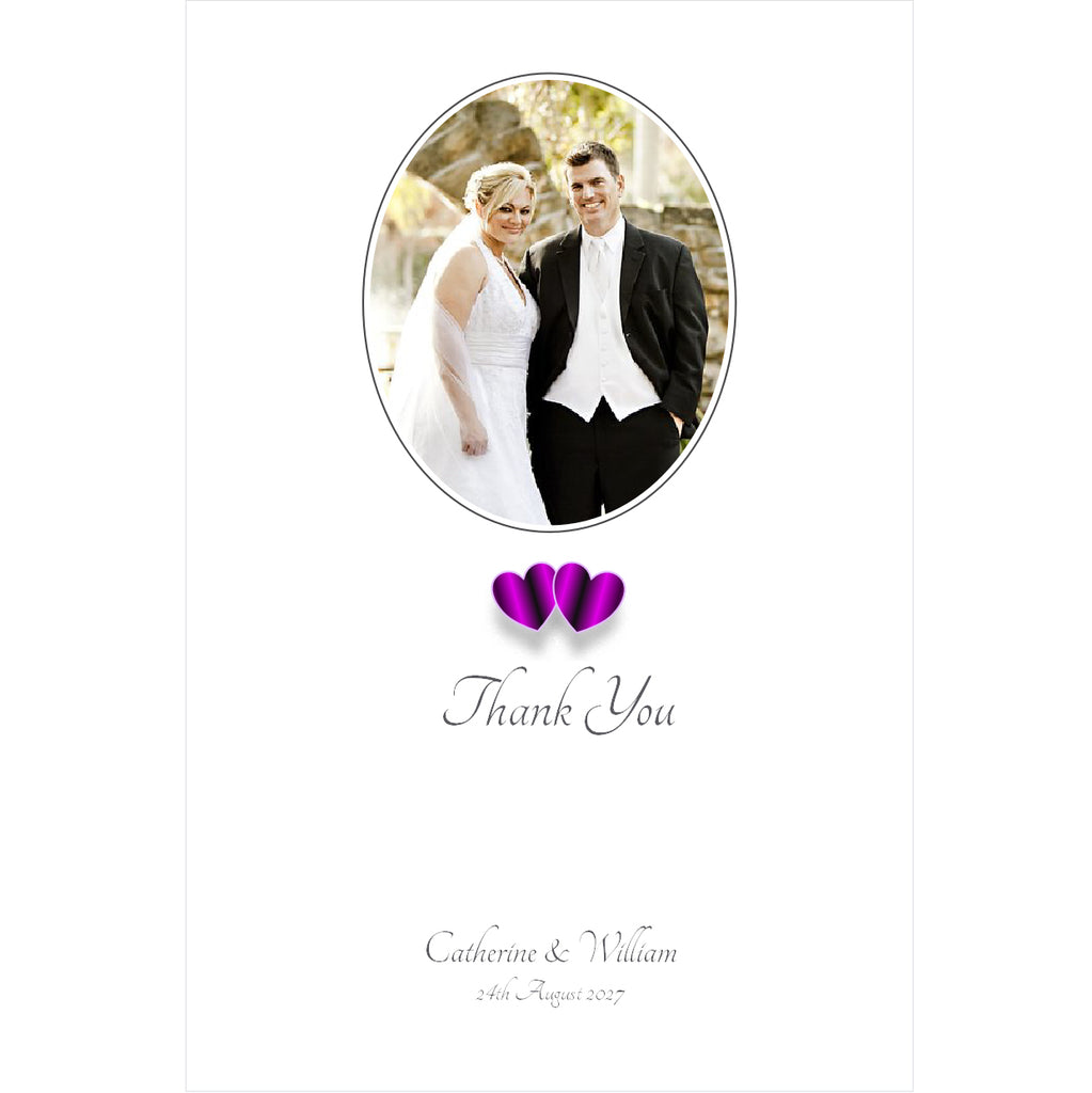 096 Purple Hearts Photo Thank You Cards
