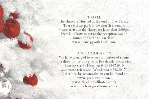 063 Red Baubles Information Cards