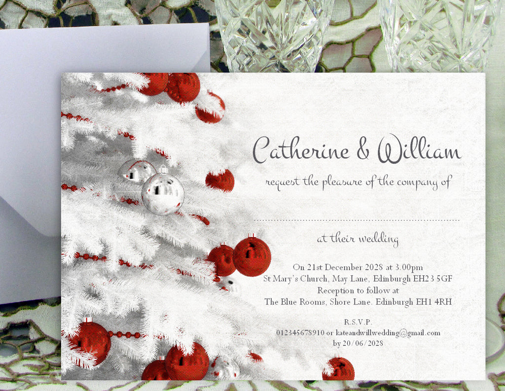063 Red Baubles Wedding Invitations