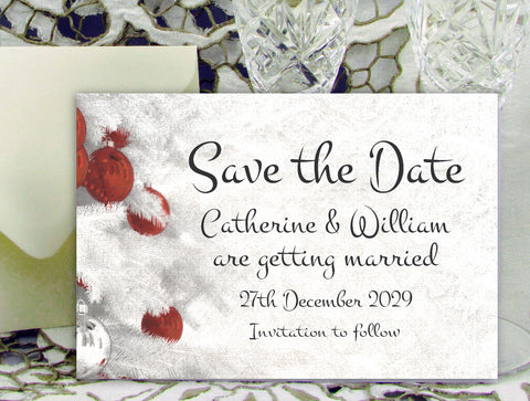 063 Red Baubles Save the Date Card