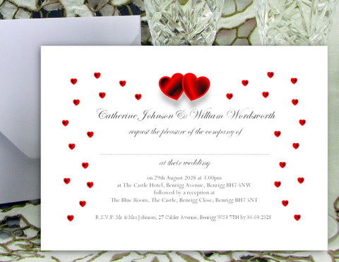 064 Red Hearts Wedding Invitations