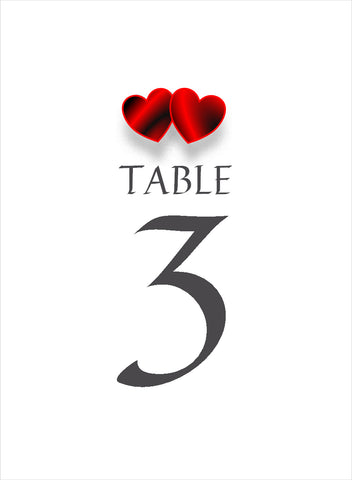 024 Red Hearts Portrait Table Number Cards