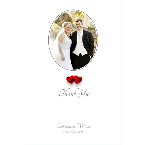 024 Red Hearts Photo Thank You Cards