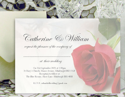 065 Red Rose Wedding Invitations