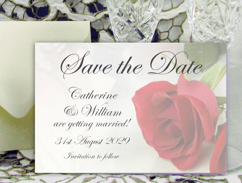 065 Red Rose Save the Date Card