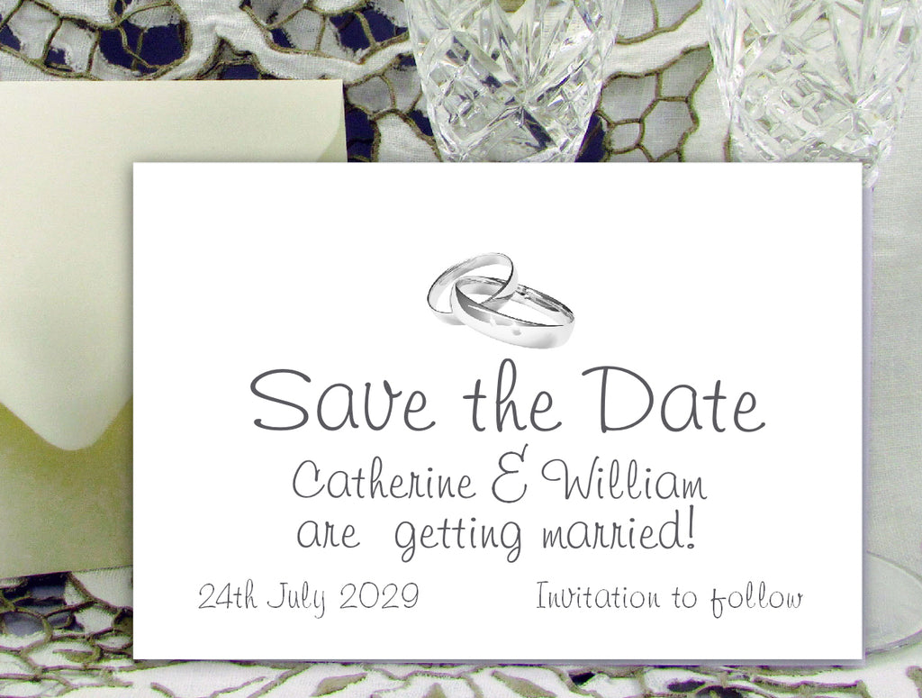 066 Rings Modern Save the Date Card