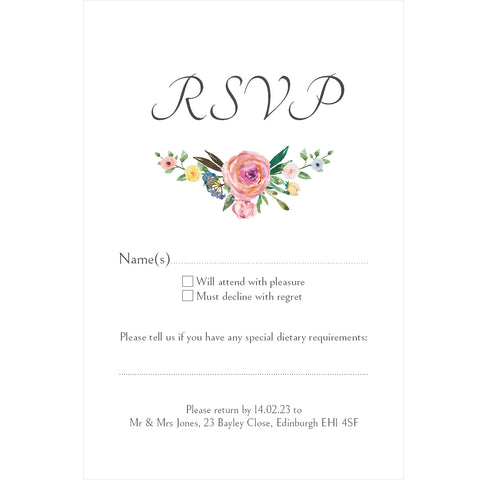 031 Rose Flourish R.S.V.P. Cards