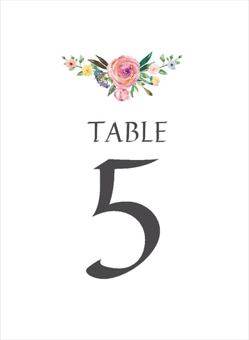 031 Rose Flourish Table Number Cards