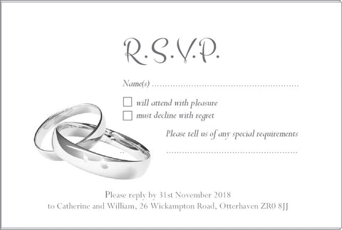 059 Wedding Rings R.S.V.P. Cards