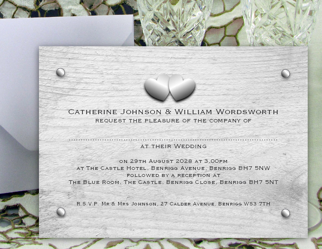 009 Rustic Hearts Wedding Invitations