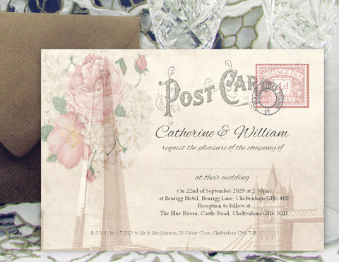 049 London Postcard Wedding Invitations