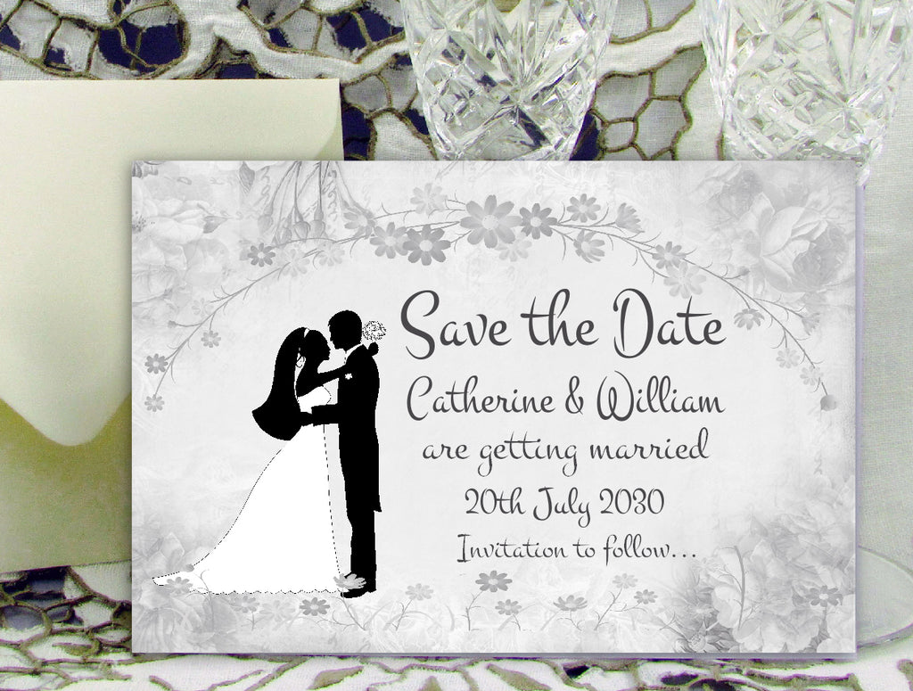 002 Flower Silhouette Save the Date Card