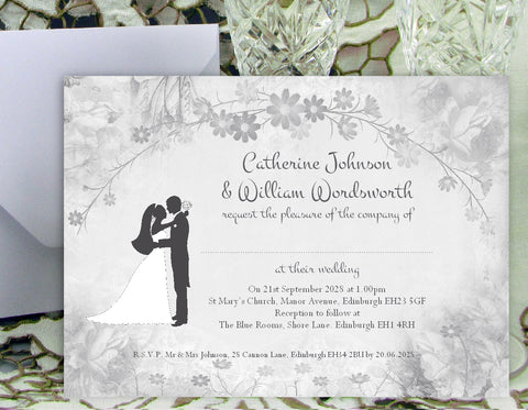 002 Flower Silhouette Wedding Invitations