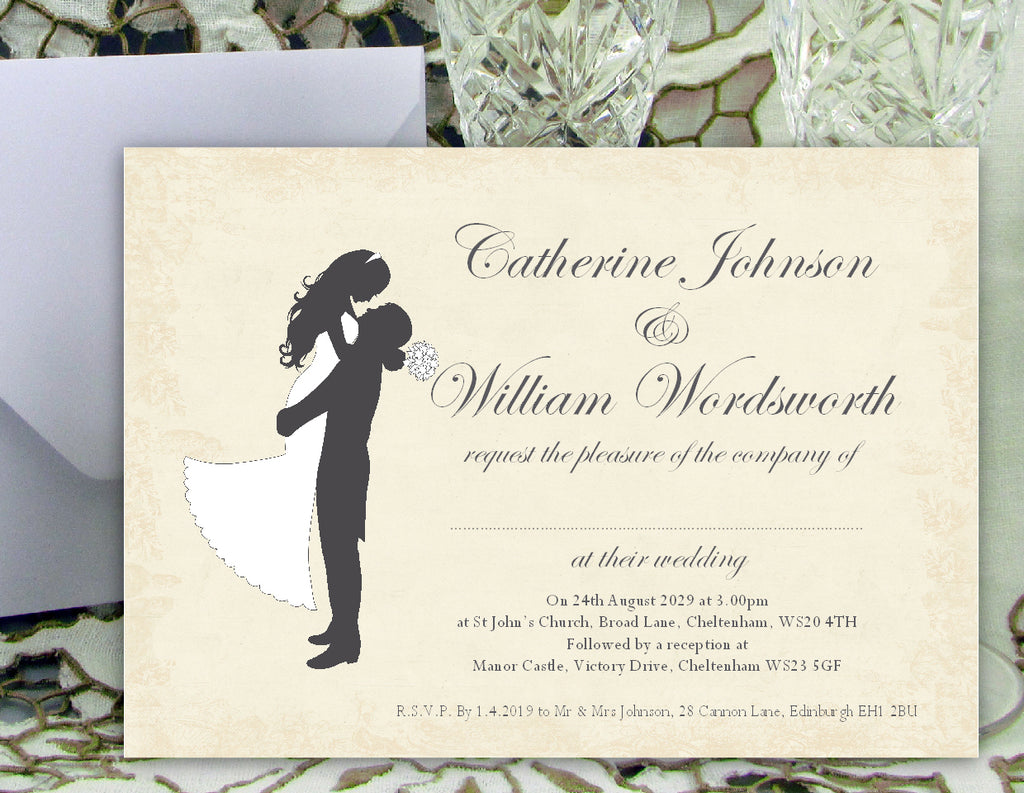 027 Silhouette Script Wedding Invitations